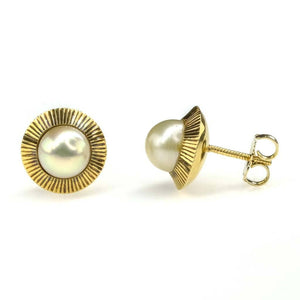 6mm Freshwater Pearl Fluted Halo Stud Earrings in 14K Yellow Gold Earrings Oaks Jewelry