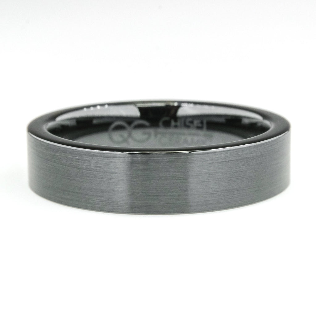 6mm Wide Comfort Fit Flat Design Black Men's Wedding Band in Ceramic Wedding Rings Oaks Jewelry