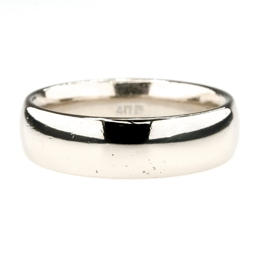 6mm Wide Comfort Fit Men's Wedding Band Ring in 10K White Gold Wedding Rings Oaks Jewelry