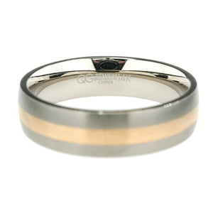 6mm Wide Comfort Fit Satin Finish Men's Wedding Band Titanium & 14K Rose Inlay Wedding Rings Oaks Jewelry