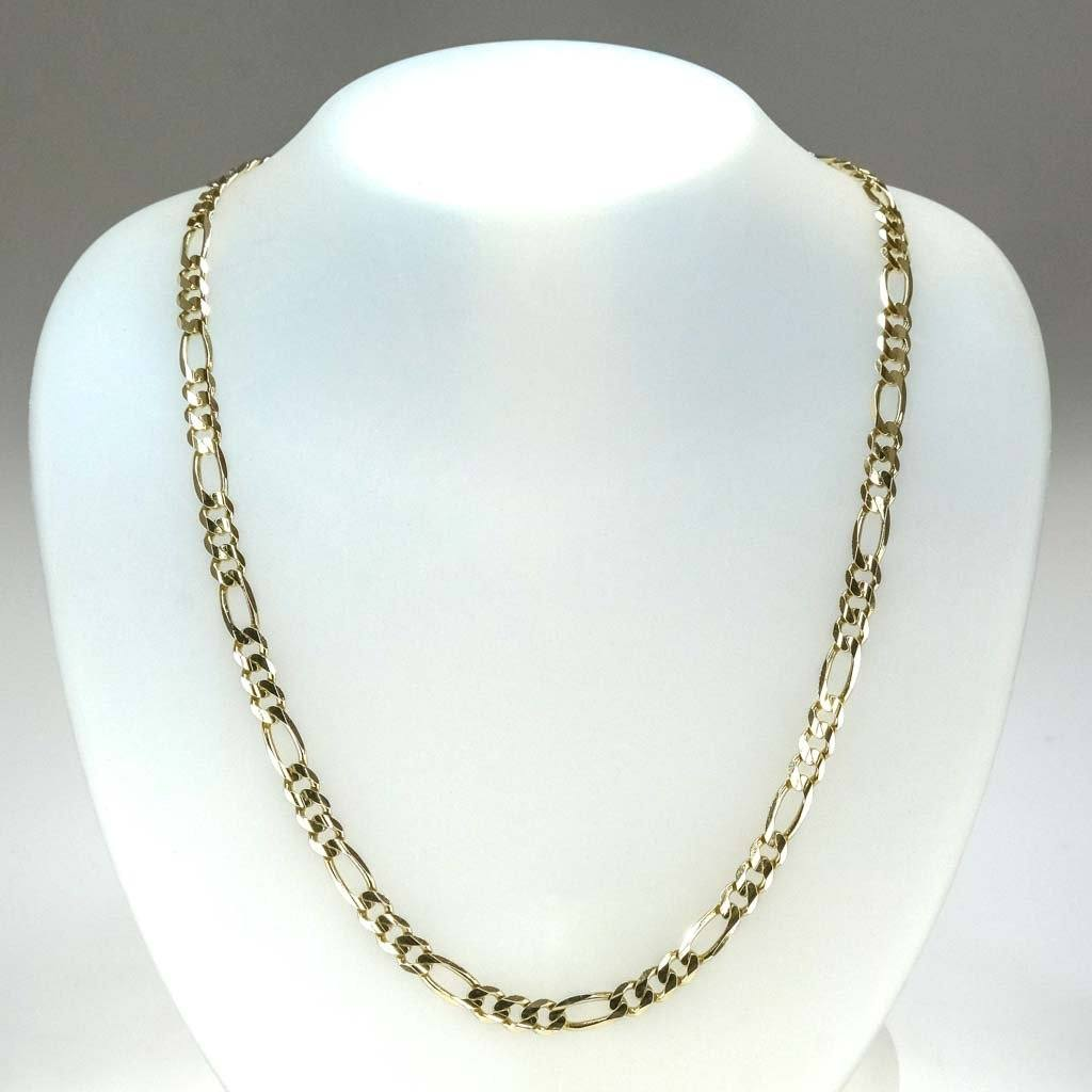 "6mm Wide Figaro 24.5"" Chain in 10K Yellow Gold Chains Oaks Jewelry"