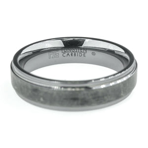 6mm Wide Step Edge Comfort Fit Men's Grey Wedding Band in Tungsten Carbide Wedding Rings Oaks Jewelry