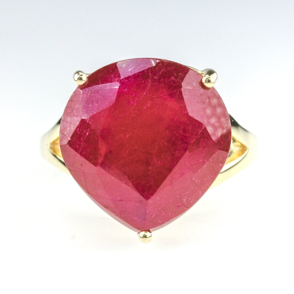7.00ct Natural Modified Pear Shape Ruby Solitaire Gemstone Ring 14K Yellow Gold Gemstone Rings Oaks Jewelry