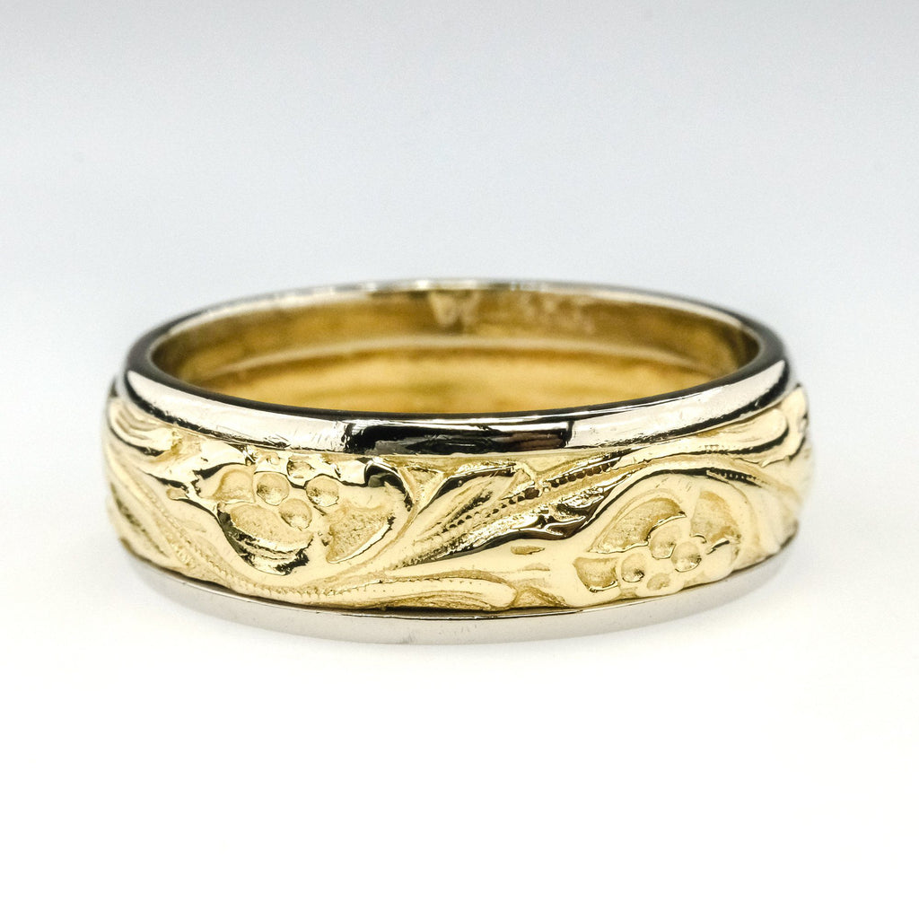 7.1mm Wide Floral Eternity Wedding Band Ring Size 9.25 in 14K Two Tone Gold Wedding Rings Oaks Jewelry