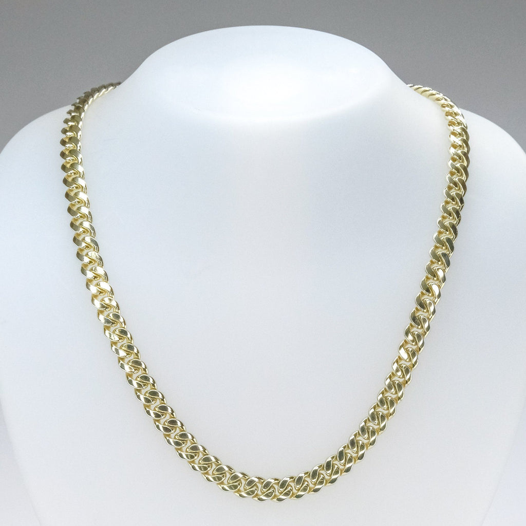 "7.4mm Wide Cuban Curb Link 24"" Chain Necklace in 10K Yellow Gold - 89.1 grams Chains Oaks Jewelry"