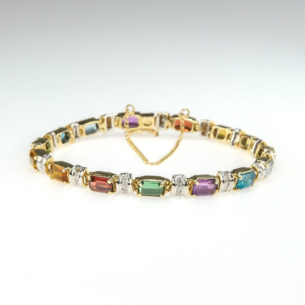 "7.50ctw Multi-Gem w/ Diamond Accents Bar Link 7"" Bracelet in 14K Yellow Gold Bracelets Oaks Jewelry"