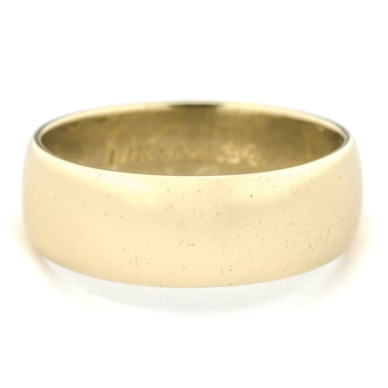 7.5mm Wide Half Round Wedding Band in 14K Yellow Gold Wedding Rings Oaks Jewelry