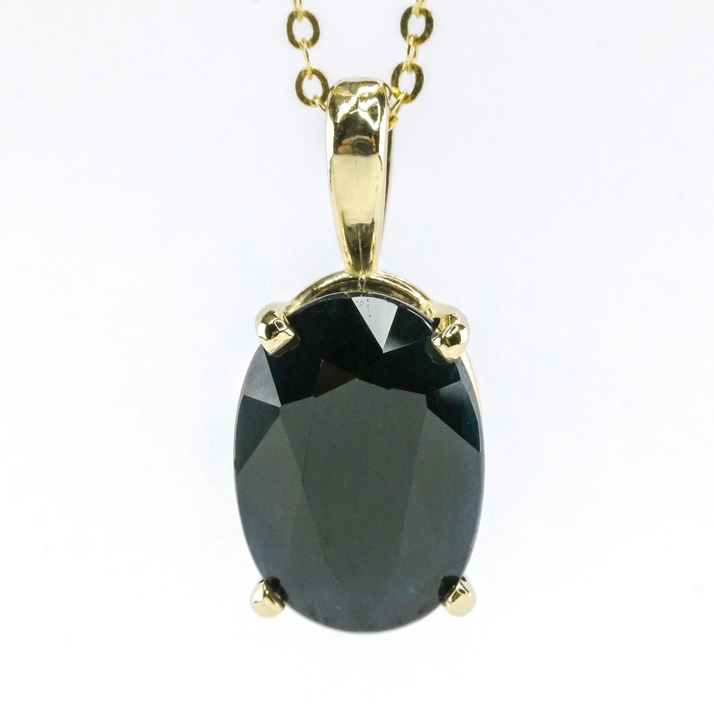 "7.83ct Oval Cut Sapphire Solitaire Pendant on 20"" Necklace in 14K Yellow Gold Pendants with Chains Oaks Jewelry"