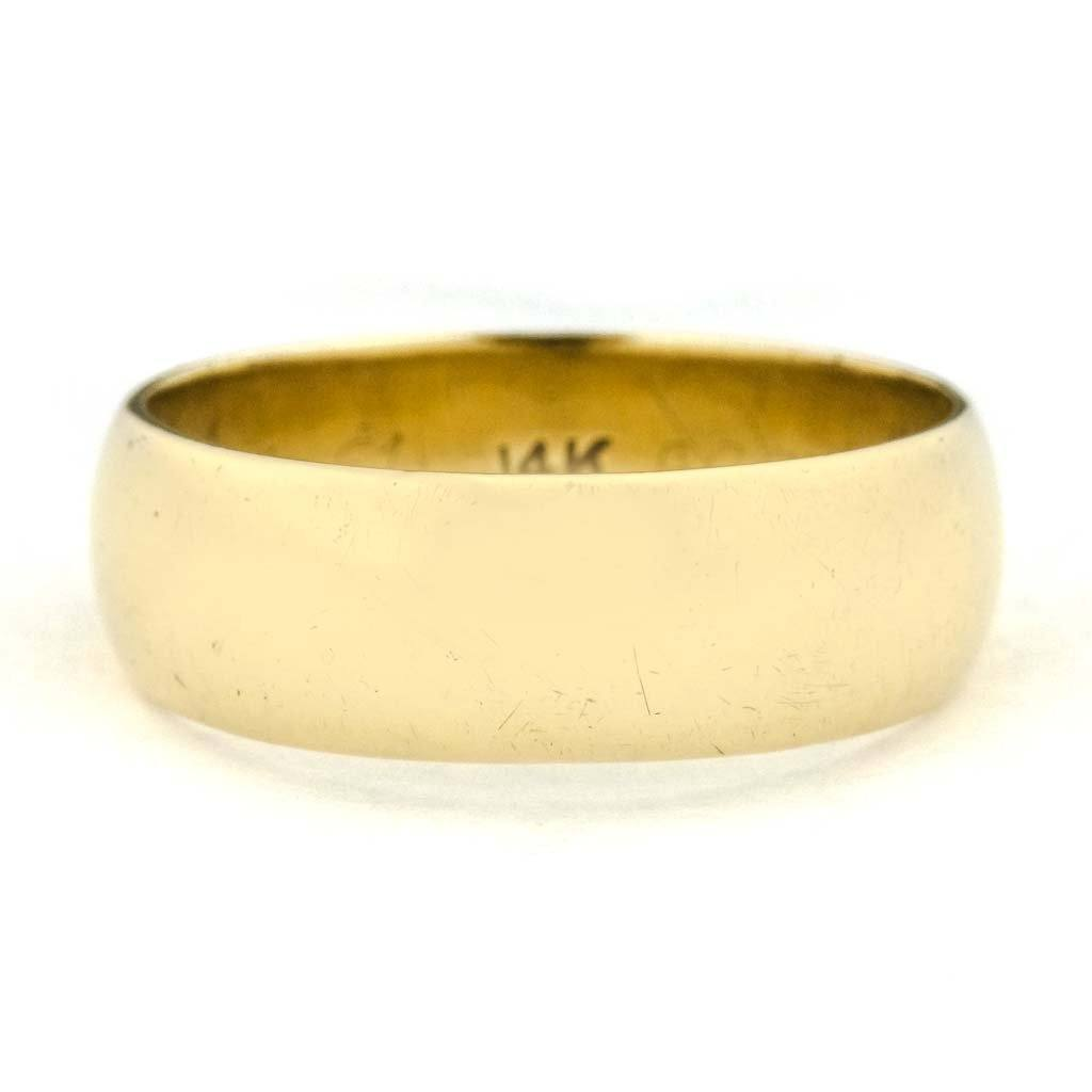 7.9mm Wide Half Round Wedding Band in 14K Yellow Gold Wedding Rings Oaks Jewelry