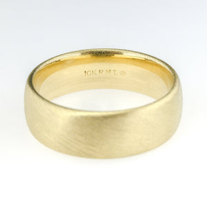 7mm Wide Brushed Finish Comfort Fit Wedding Band Size 10 in 10K Yellow Gold Wedding Rings Oaks Jewelry