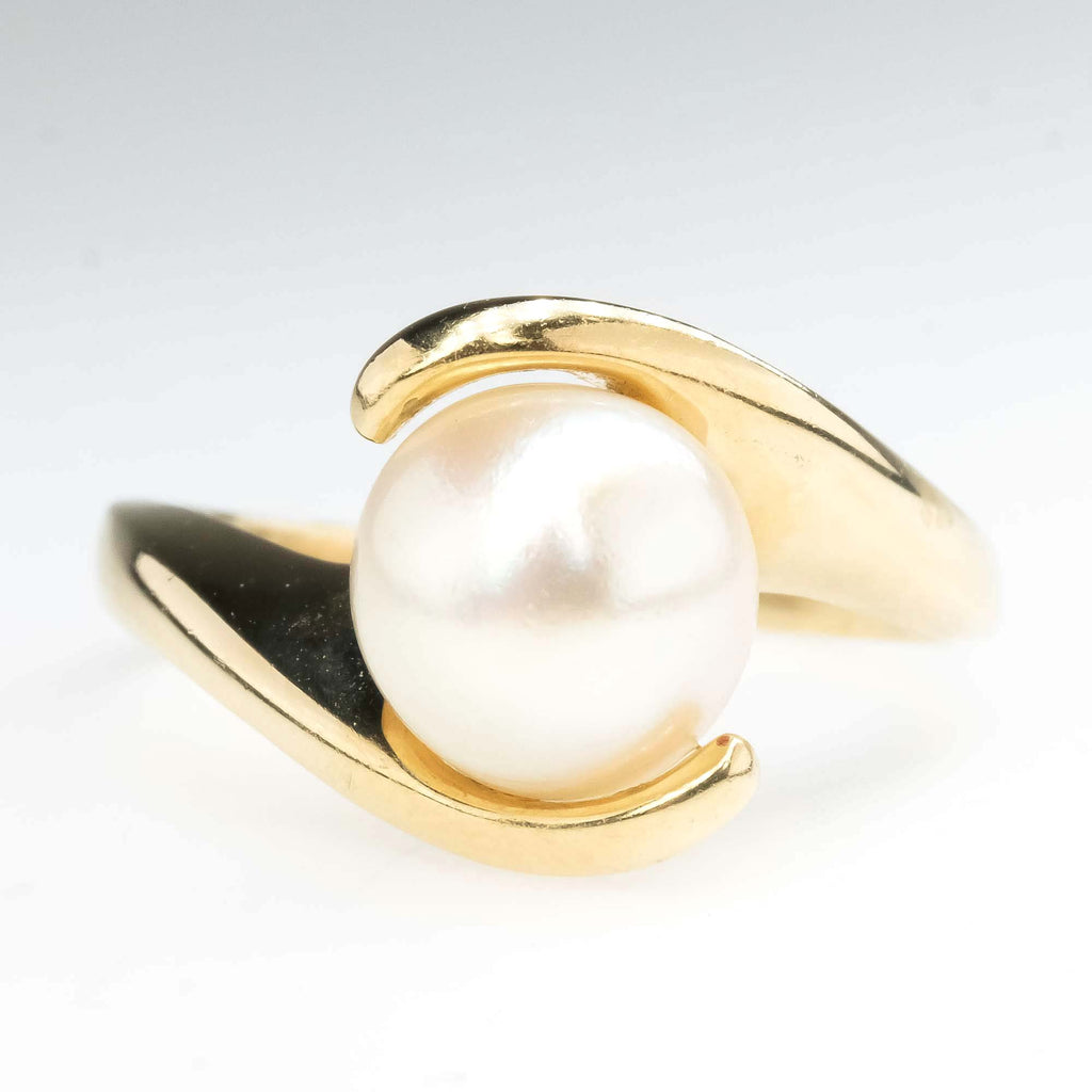 8.4mm Pearl Solitaire Bypass Ring in 14K Yellow Gold Gemstone Rings Oaks Jewelry