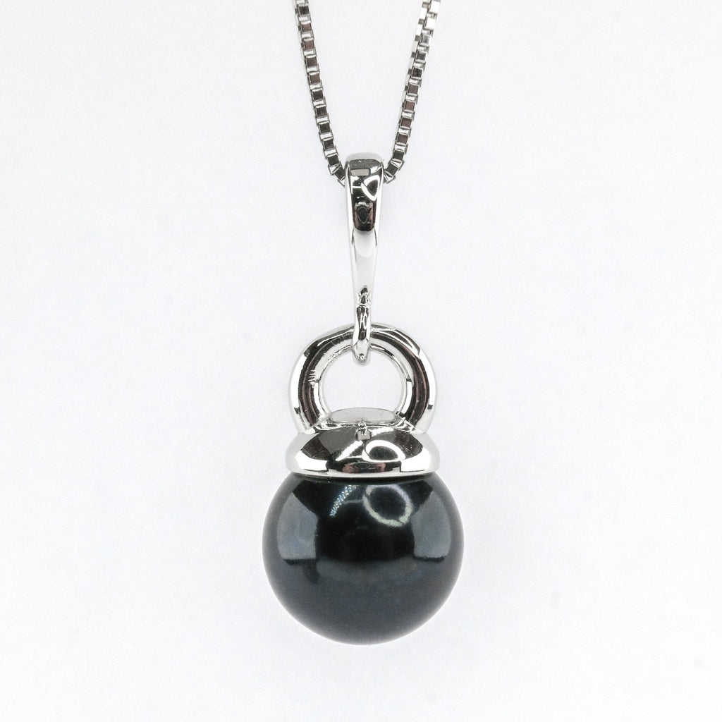 "8mm Black Tahitian Pearl 19"" Necklace in 14K White Gold Pendants with Chains Oaks Jewelry"