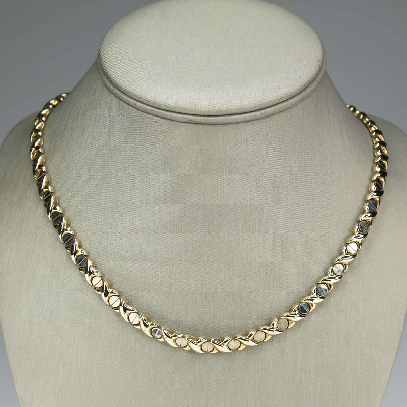 "8mm Wide Flat XO Link Hollow 18"" Chain Necklace in 10K Two Tone Gold Necklaces Oaks Jewelry"