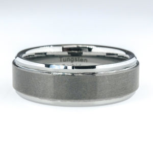 8mm Wide Grey Brushed & Polished Wedding Band Ring Size 12 in Tungsten Carbide Wedding Rings Oaks Jewelry