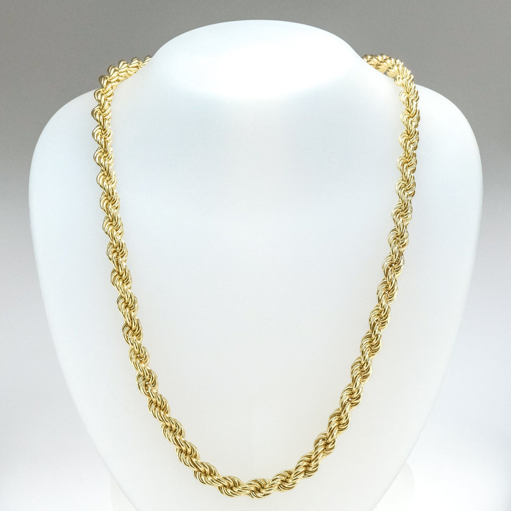 "8mm Wide Hollow Rope 30"" Chain in 14K Yellow Gold Chains Oaks Jewelry"