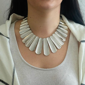 "925 Sterling Silver Cleopatra Style Collar Tapered Bar 17"" Necklace 188.4 grams Necklaces Oaks Jewelry"