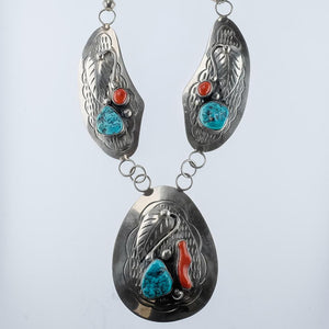 925 Sterling Silver David F. Garcia Turquoise & Coral w/ Beaded Accents Necklace Necklaces David F. Garcia