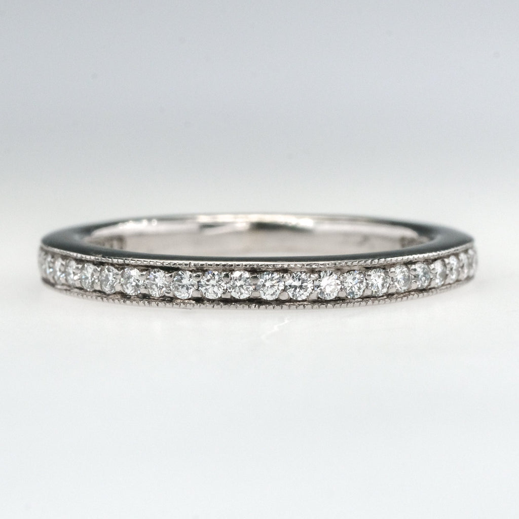 950 Palladium 0.25ctw Diamond Accents Wedding Band Ring Size 4.25 Wedding Rings Oaks Jewelry
