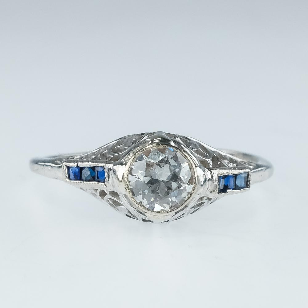 950 Platinum 0.50ct Diamond Solitaire with Blue Sapphire Accents Ring Size 9 Diamond Rings Oaks Jewelry