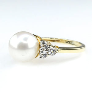 9mm Freshwater Pearl & White Topaz Gemstone Ring Size 6.25 in 10K Yellow Gold Gemstone Rings Oaks Jewelry