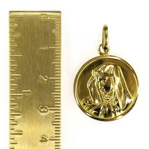 Immaculate Heart of Mary Medal Pendant in 18K Yellow Gold