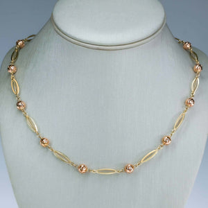 "Alternating Bead & Elongated Oval 24"" Chain Necklace in 14K Two Tone Gold Necklaces Oaks Jewelry"