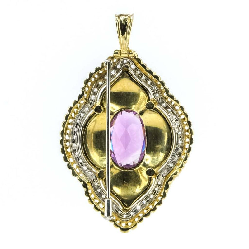 Amethyst and Diamond w/ Blue Enamel Brooch/Pendant in 18K Yellow Gold Pins and Brooches Oaks Jewelry