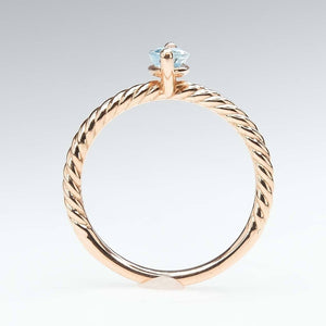 Aquamarine Rope Detailed Solitaire Ring in 14K Rose Gold Gemstone Rings Oaks Jewelry