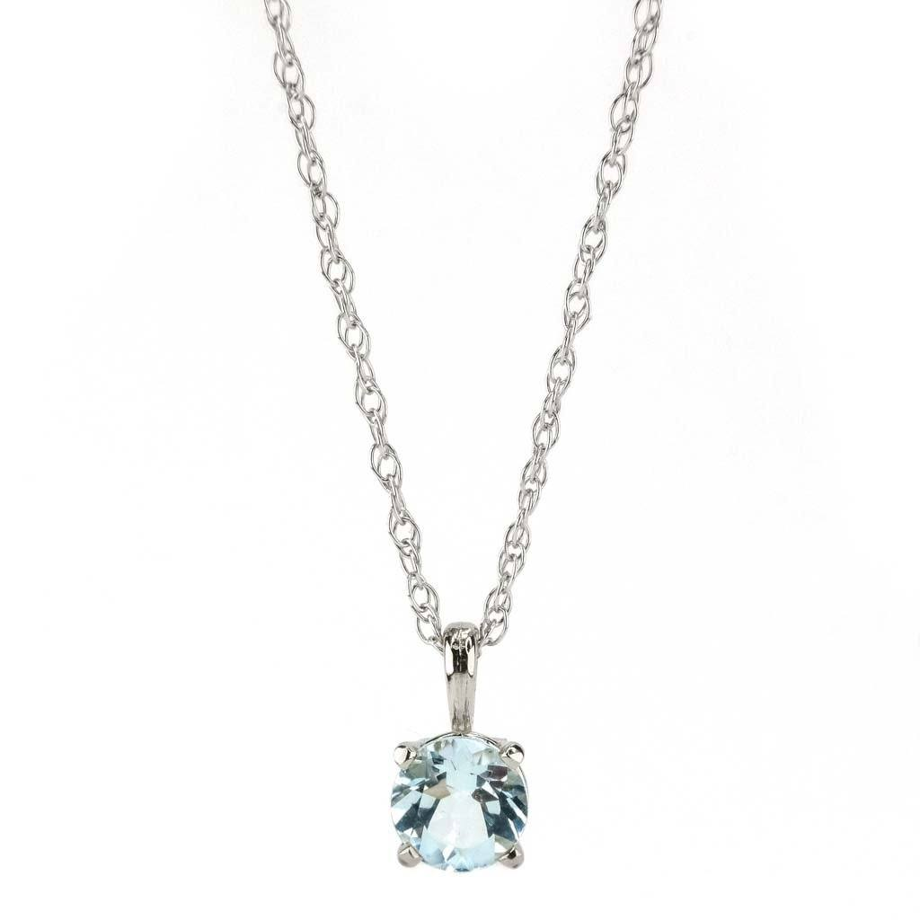 "Aquamarine Solitaire Pendant 18"" Necklace 0.40ct in 14K White Gold Pendants with Chains Oaks Jewelry"