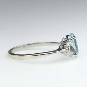 Aquamarine & White Sapphire Three Stone Ring in 10K White Gold Gemstone Rings Oaks Jewelry