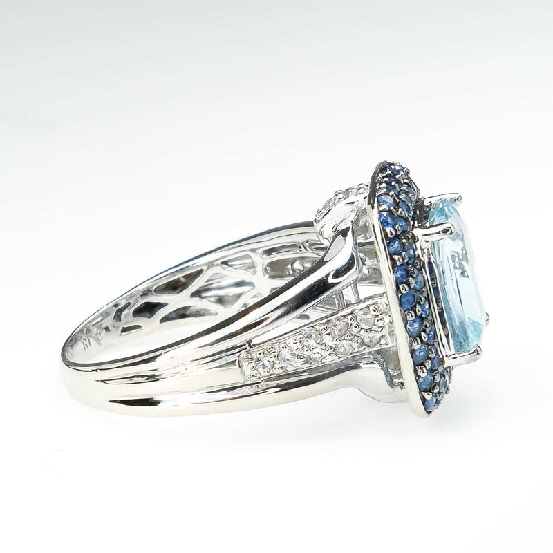 Aquamarine with Created Sapphire and White Topaz Accented Ring in 14K White Gold Gemstone Rings Oaks Jewelry