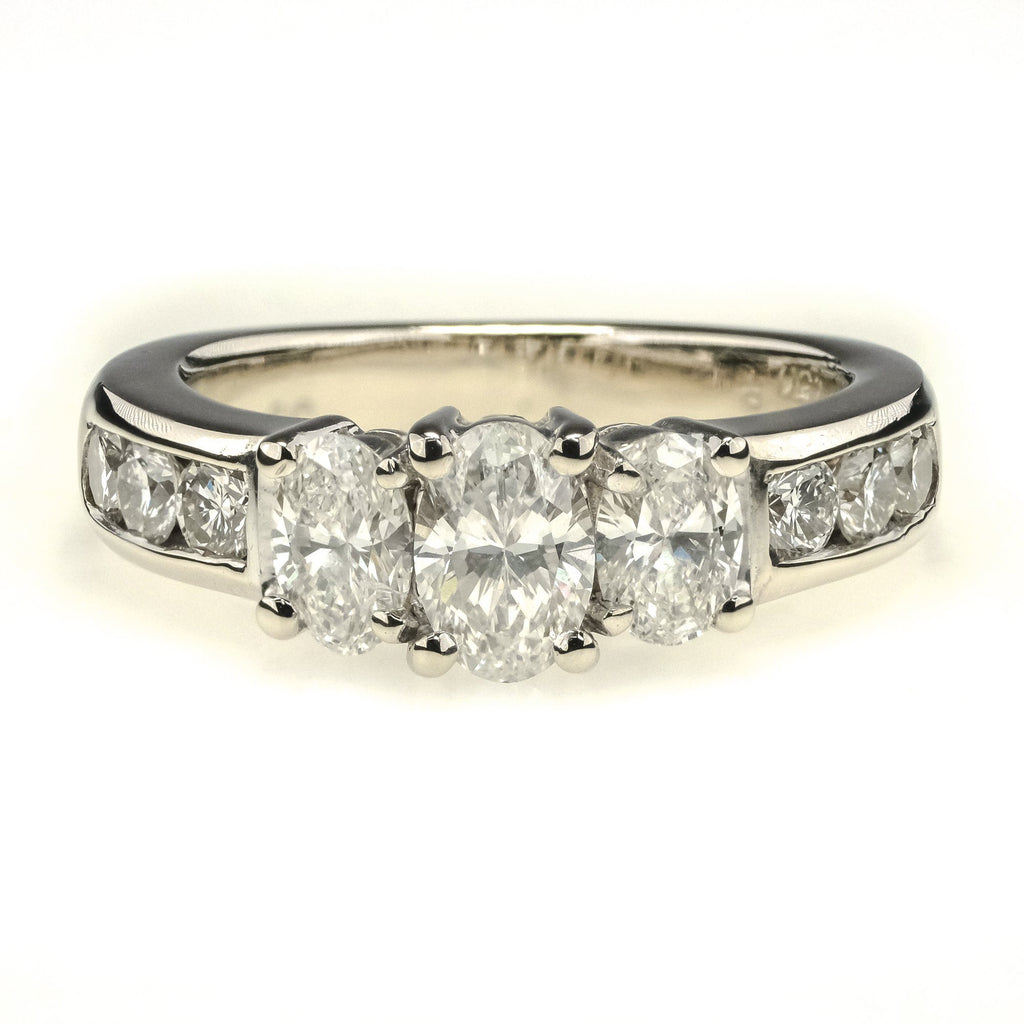 Ashi 1.50ctw Diamond Three Stone w/Side Accents Engagement Ring 14K White Gold Engagement Rings Ashi