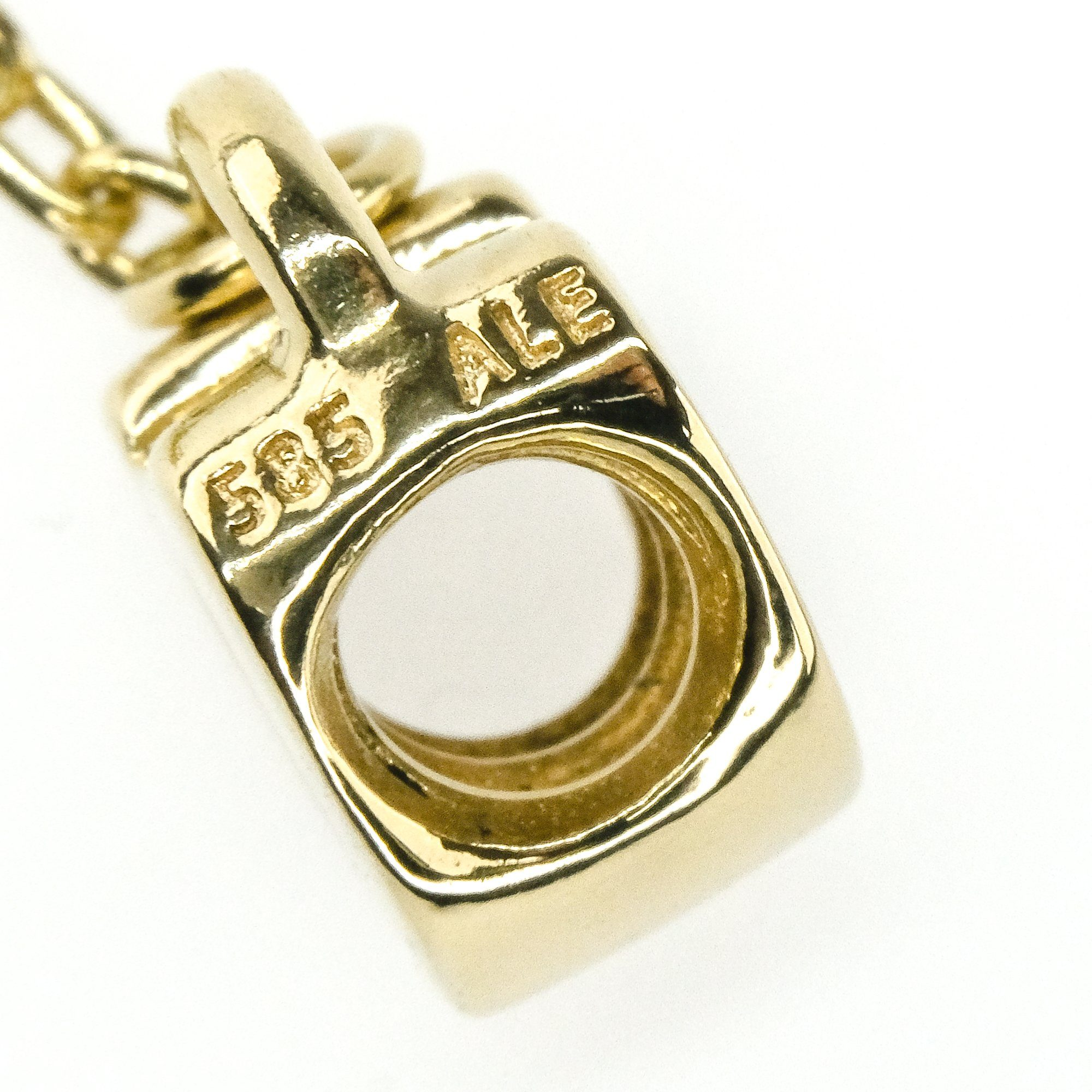 14K Solid Tri-color Gold Key to My Heart Charm Pendant