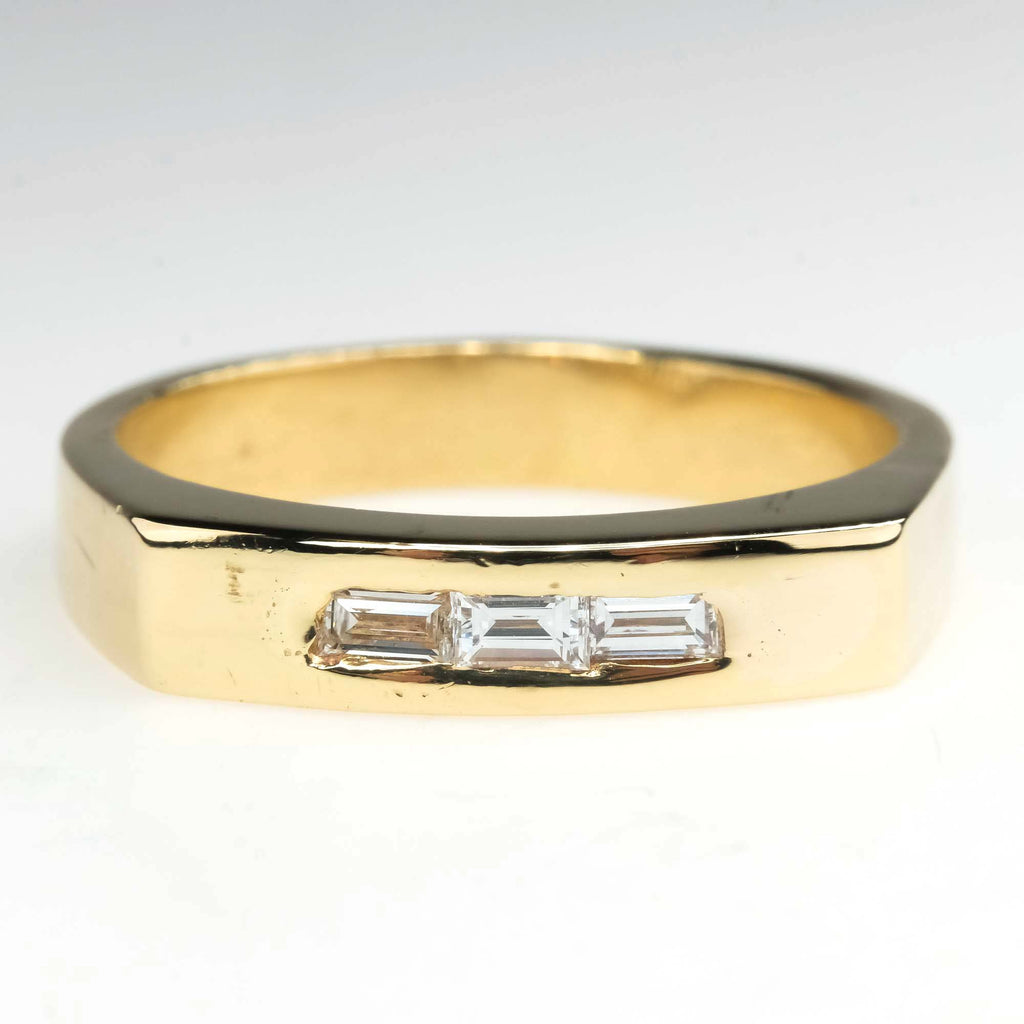 Baguette Diamond Channel Ring Band in 14K Two Tone Gold Wedding Rings Oaks Jewelry