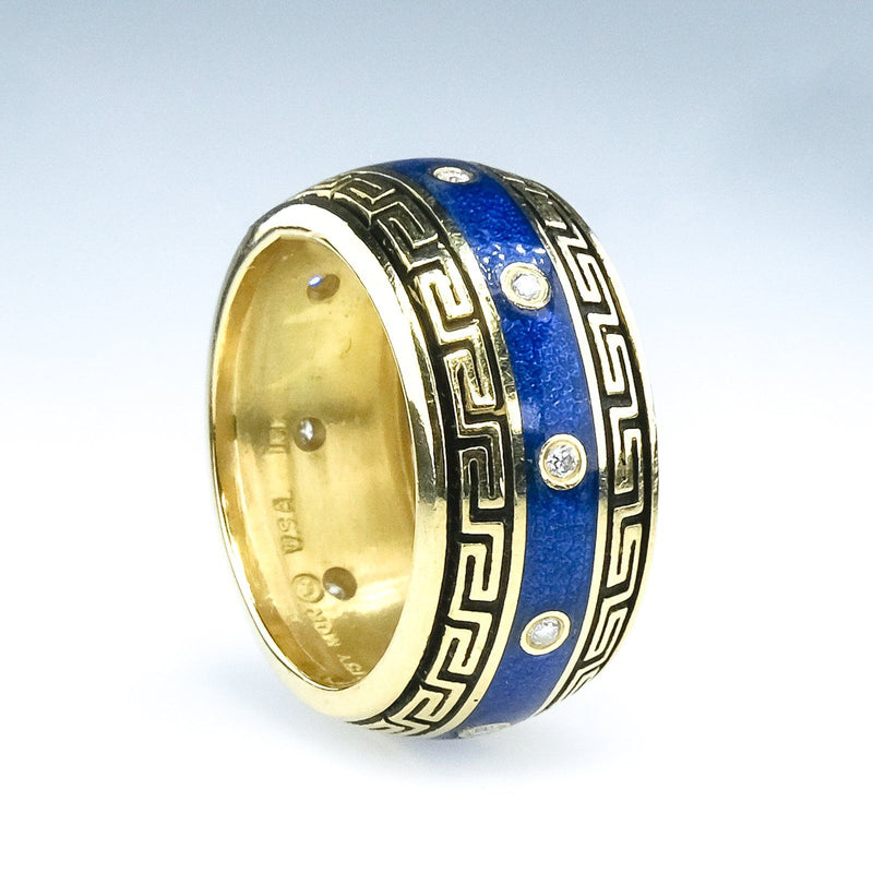Blue Enamel Greek Key & Diamond Accents Band Ring Size 6.25 in 18K Yellow Gold Diamond Rings Oaks Jewelry