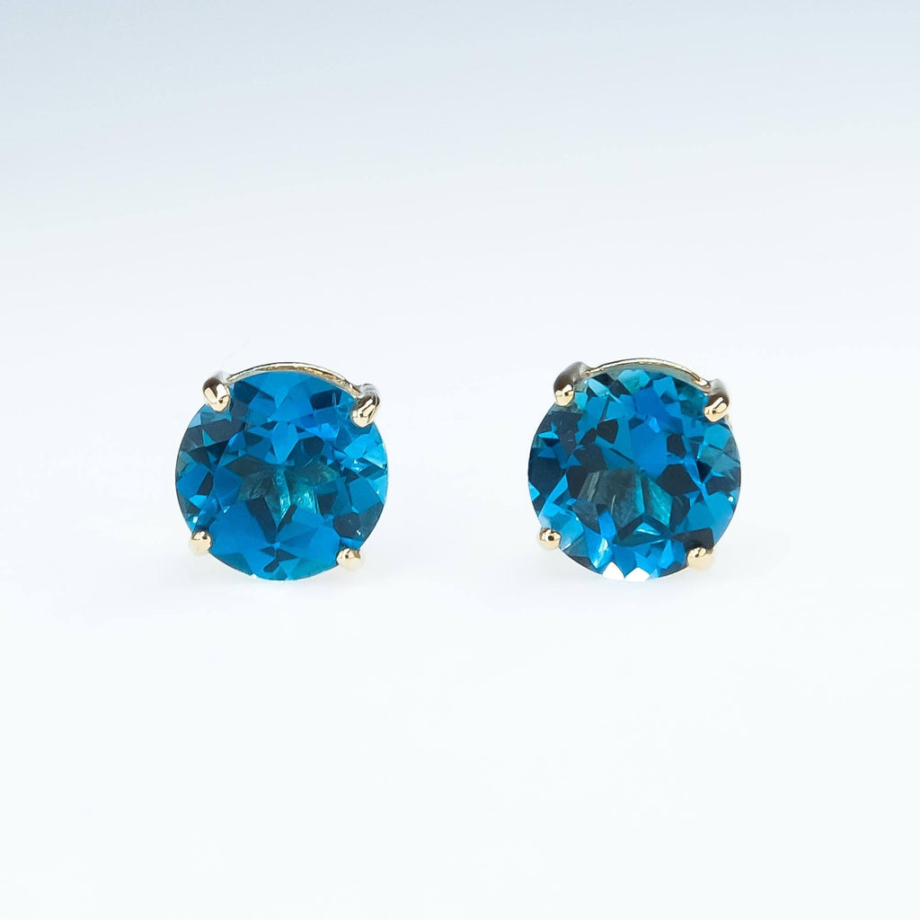 Blue Spinel Stud Earrings in 10K Yellow Gold Earrings Oaks Jewelry