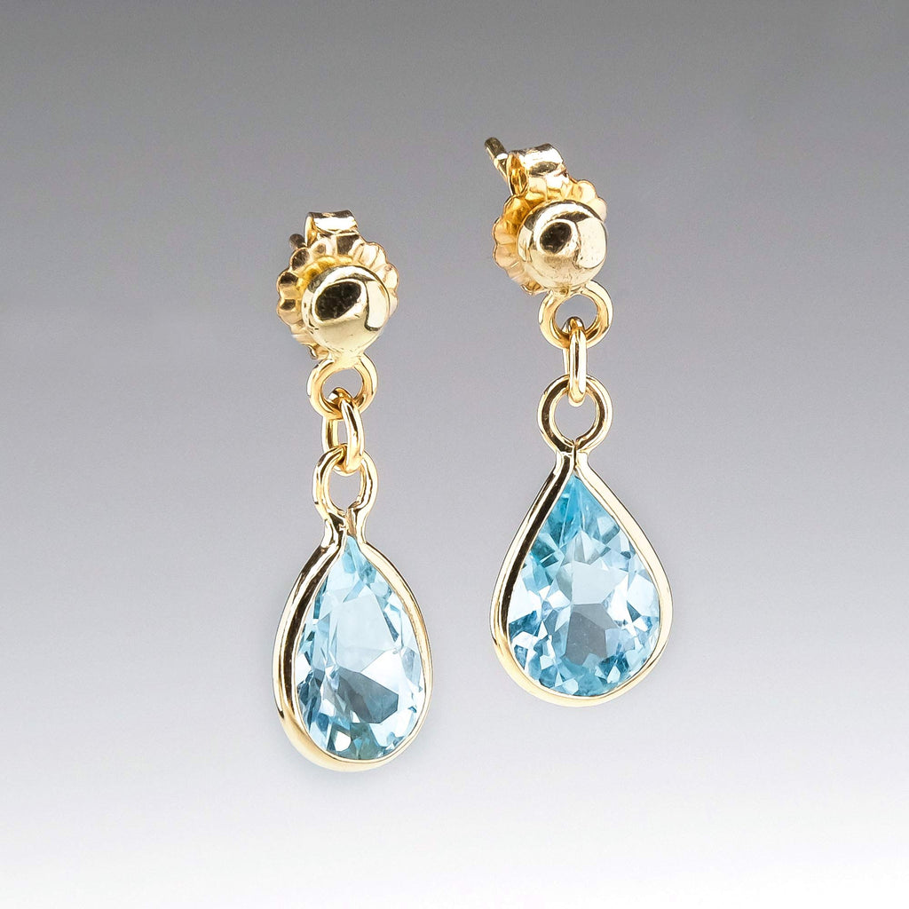 Blue Topaz Teardrop Dangle Earrings in 14K Yellow Gold Earrings Oaks Jewelry