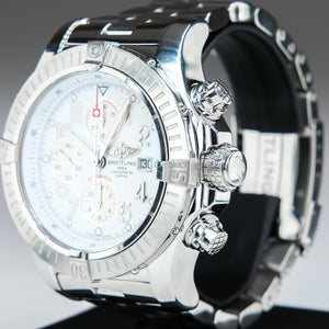 Breitling Super Avenger Stainless Steel White Dial Men's Watch A13370 Watches Breitling