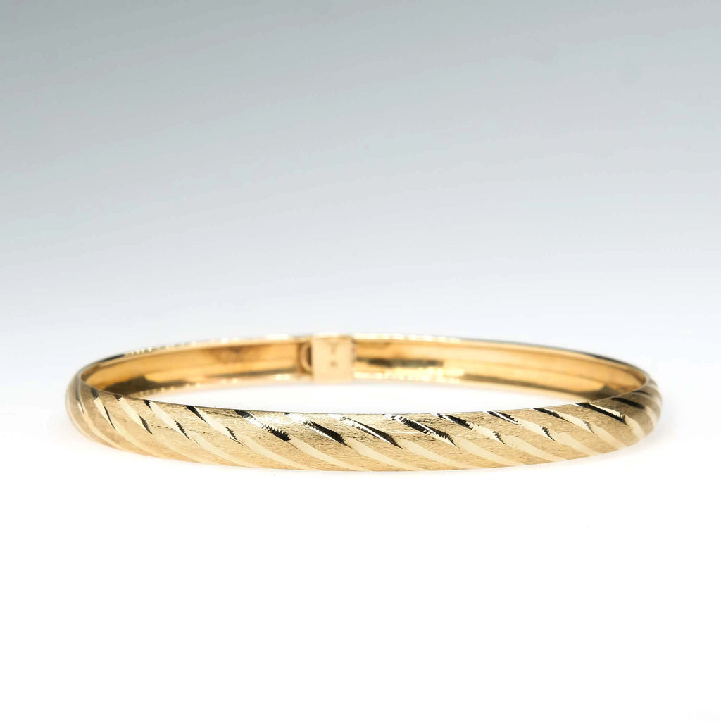 Brushed & High Polished Hollow Bangle Bracelet in 14K Yellow Gold Bracelets Oaks Jewelry