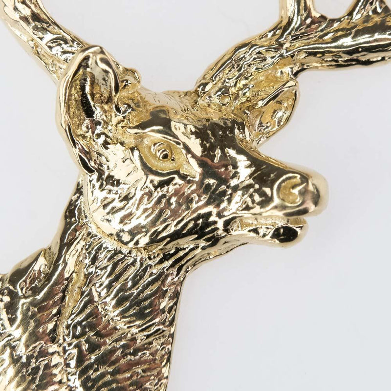Buck Head Whitetail Deer Pendant in 14K Yellow Gold Pendants Oaks Jewelry