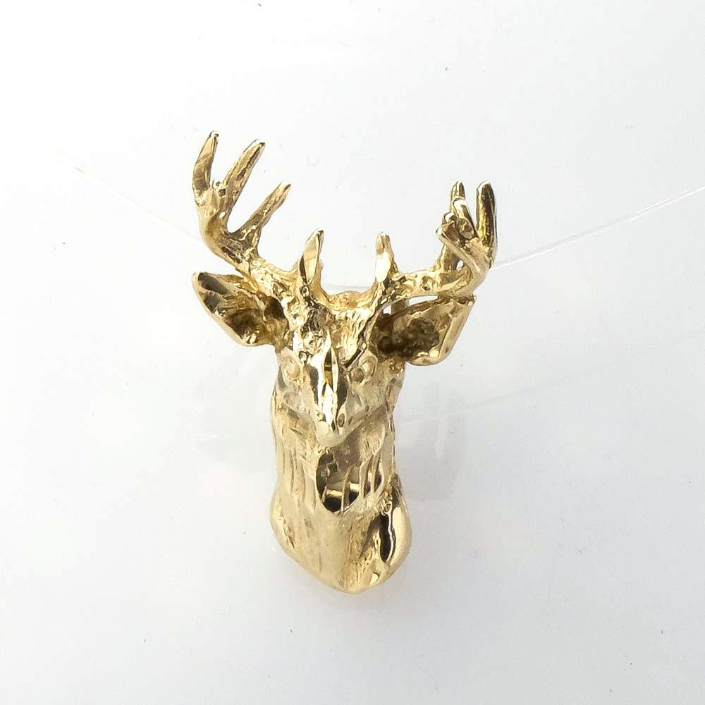 Buck Head Whitetail Deer Slide Pendant in 14K Yellow Gold Pendants Oaks Jewelry