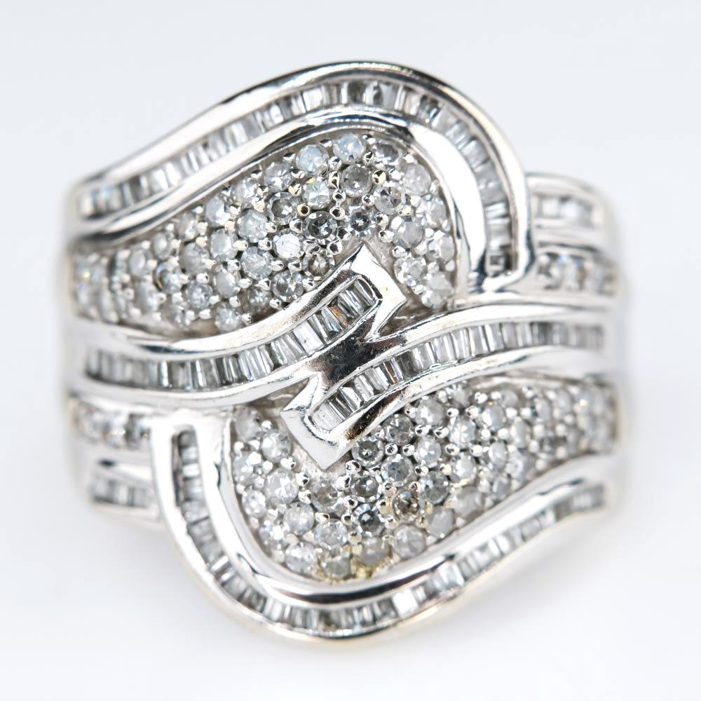Bypass Swirl Diamond Cluster Statement Ring in 14K White Gold Diamond Rings Oaks Jewelry