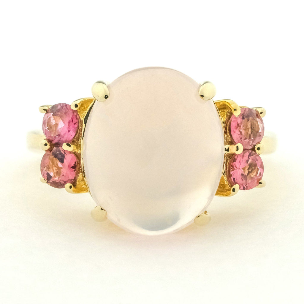 Cabochon Rose Quartz w/ Pink Cubic Zirconia Gemstone Ring in 14K Yellow Gold Gemstone Rings Oaks Jewelry