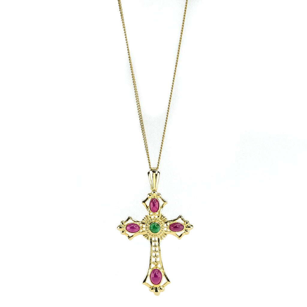 "Cabochon Ruby & Emerald Cross Pendant on 18"" Chain in14K Yellow Gold Pendants with Chains Oaks Jewelry"