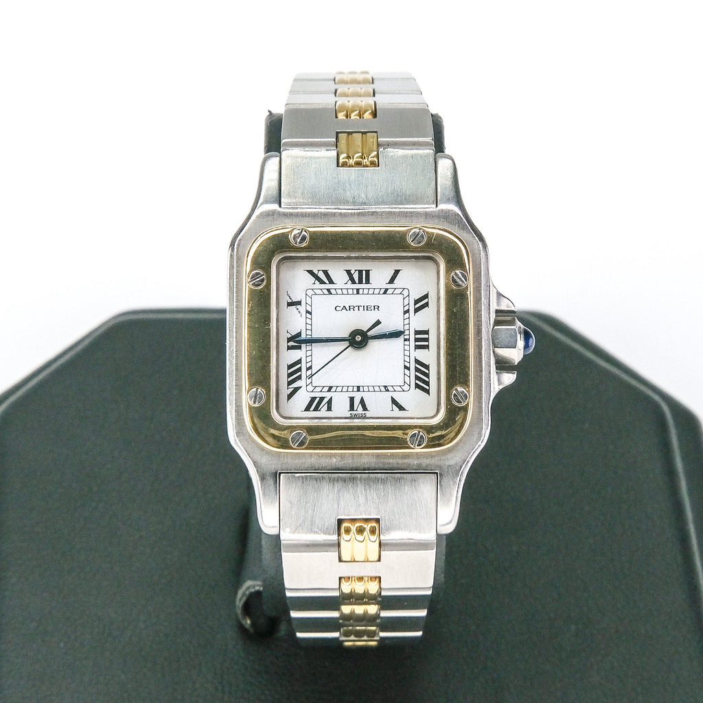 Cartier Ladies Santos Two Tone Stainless & 18K Yellow Gold Automatic Watch Watches Cartier