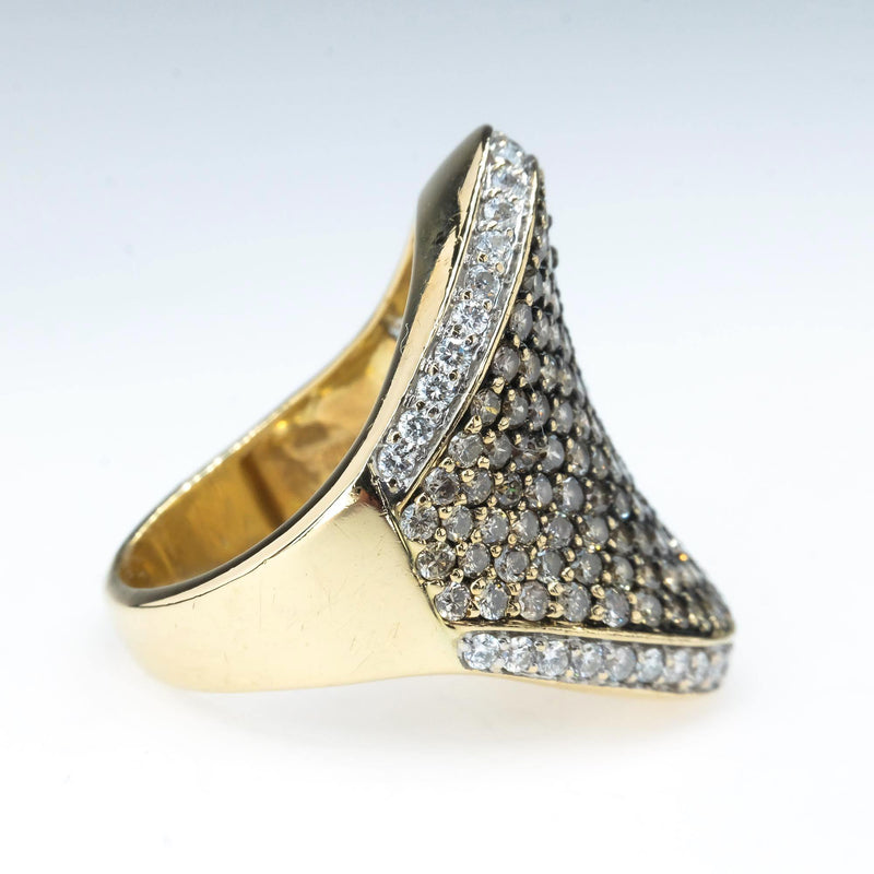 Champagne and White Diamond Concave Statement Ring in 14K Yellow Gold Size 7 Diamond Rings Oaks Jewelry