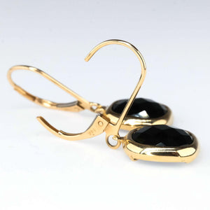 Checkerboard Cushion Onyx Bezel Dangle Earrings in 14K Yellow Gold Earrings Oaks Jewelry