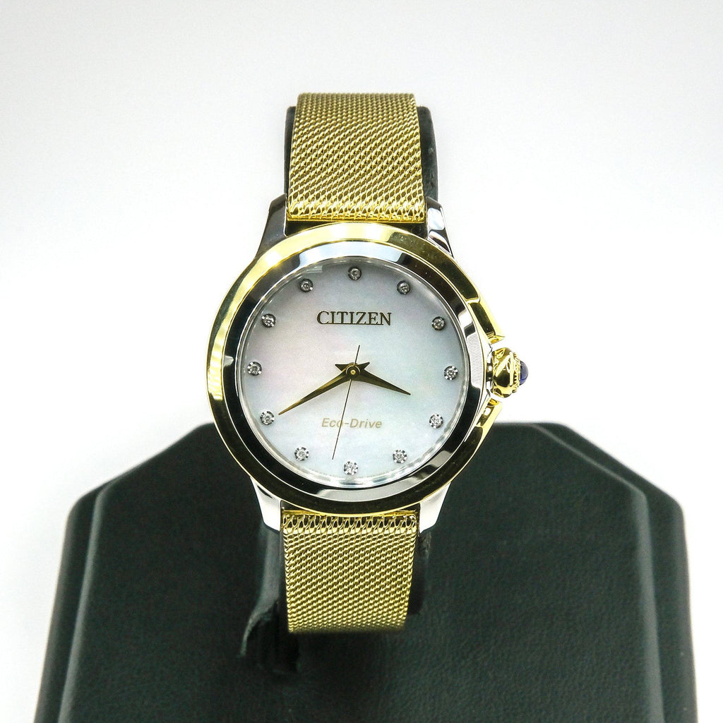 Citizen Eco-Drive Ceci Gold Tone Stainless Steel Ladies 32mm Watch EM0794-54D Watches Citizen