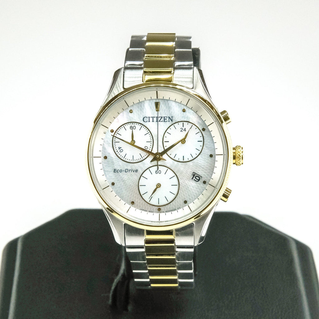 Citizen Eco-Drive Chandler Chronograph Ladies 32mm Watch FB1444-56D Watches Oaks Jewelry