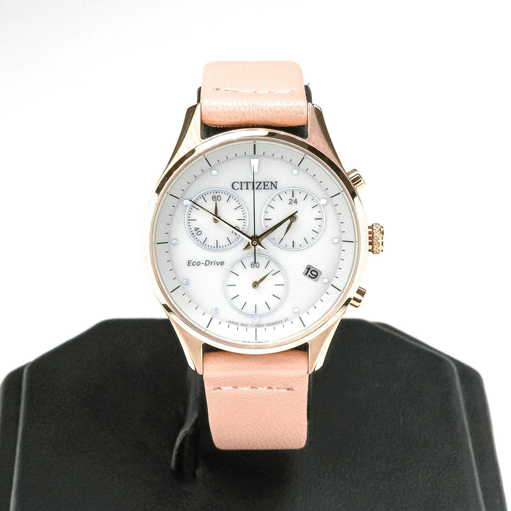 Citizen Eco-Drive Chandler Chronograph Ladies Leather 32mm Watch FB1443-08A Watches Oaks Jewelry